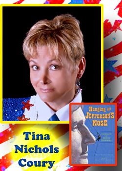Tina & book with flag