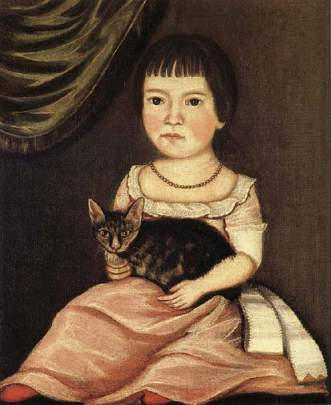 Child Posing with Cat, the Beardsley Limner, ca. 1790