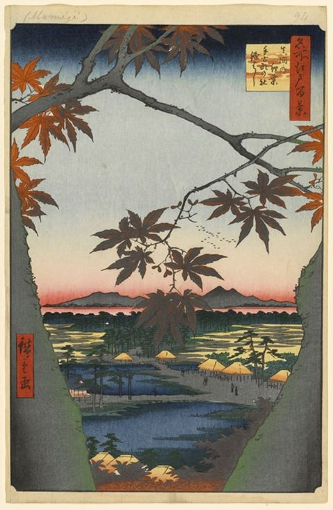 Maple Trees at Mama, Takona Shrine, and Tsugihashi Bridge, Hiroshige, 1857
