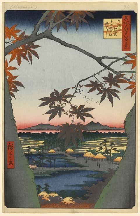Maple Trees at Mama, Takona Shrine, and Tsugihashi Bridge, Hiroshige, 1857