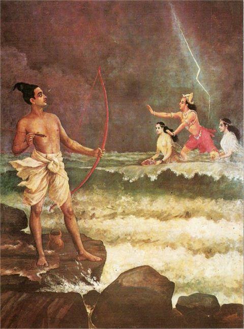 Sri Rama Vanquishing the Sea, Raja Ravi Varma, 1848-1906