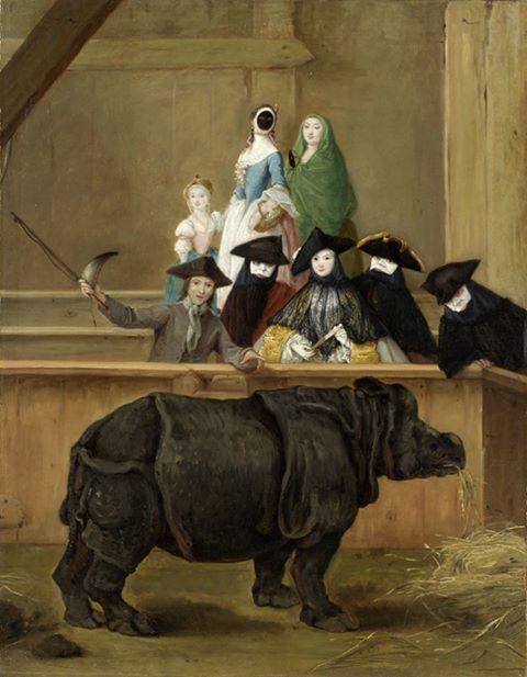 Exhibition of a Rhinoceros at Venice, Pietro Longhi, ca. 1751